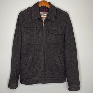American Eagle men's charcoal grey wool military style flannel lined jacket Sm
